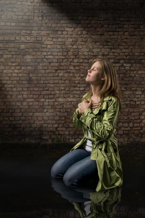 Woman Praying to Jesus Woman Praying on Knees